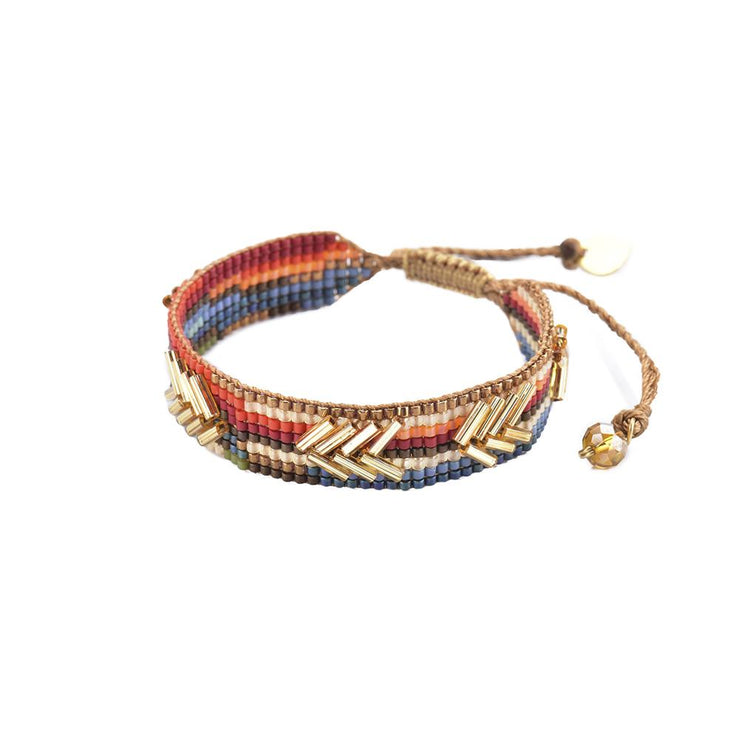 "Mishky Chevron Bracelet-Gold/Red/Orange/Turquoise  (1/2"" Wide)"