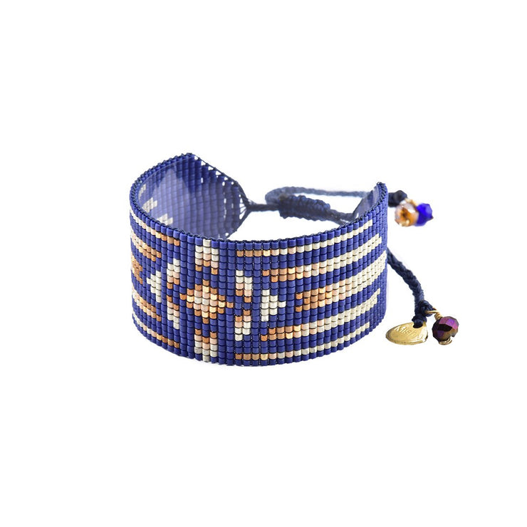 "Mishky Modena Bracelet- blue/white/copper (1.5"" wide)"