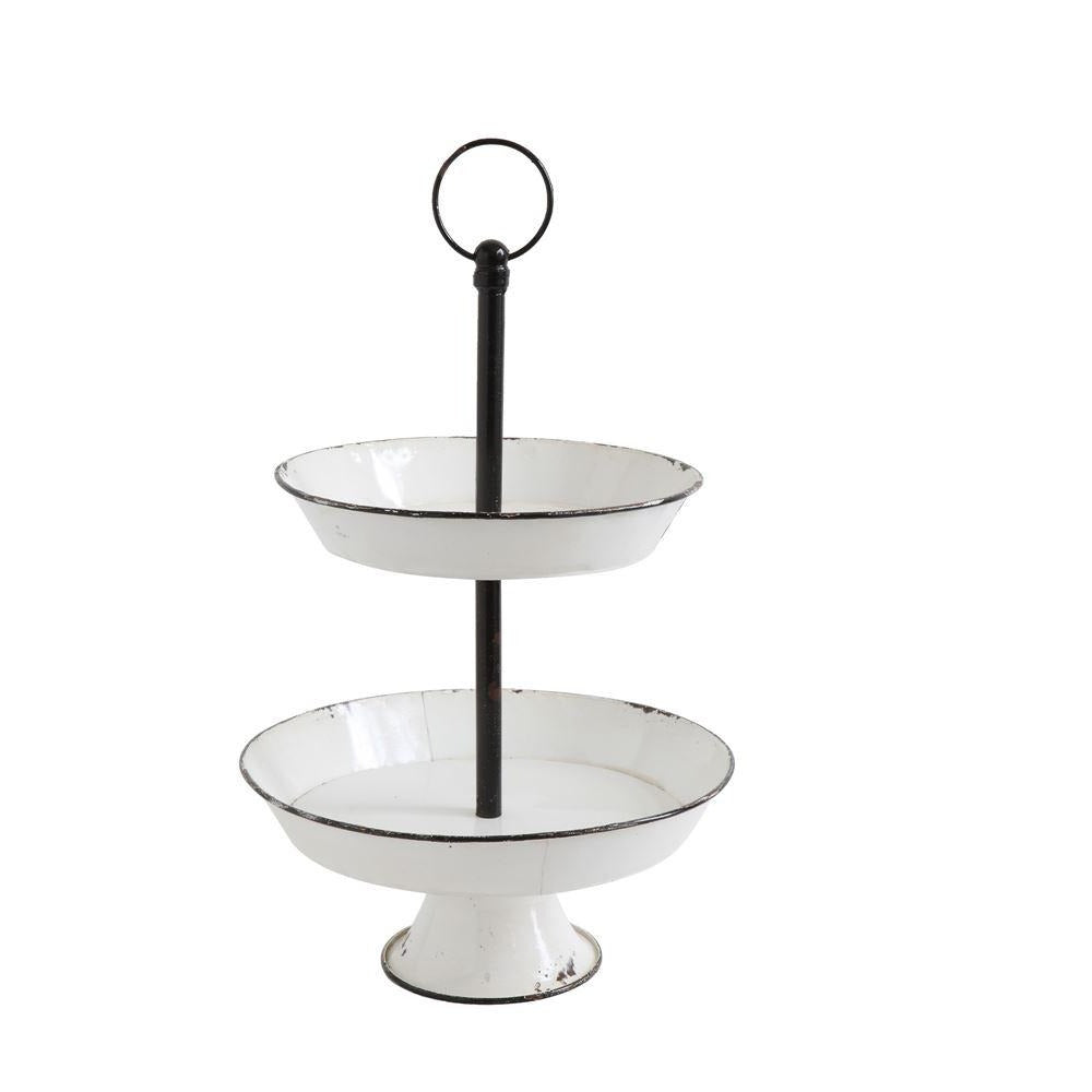 2-Tier Decorative Metal Pedestal