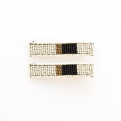 White Black + Gold Beaded Hair Clip