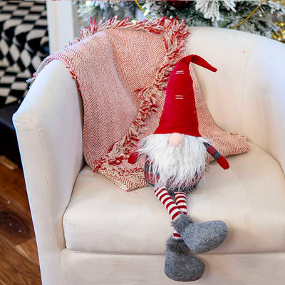 Sitting Red/Grey Plaid  Gnome