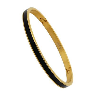 Black Enamel Inset Bangle