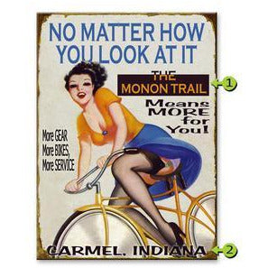 Bicyclist Girl Means More Metal Sign