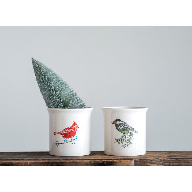 Hand Painted Bird Container
