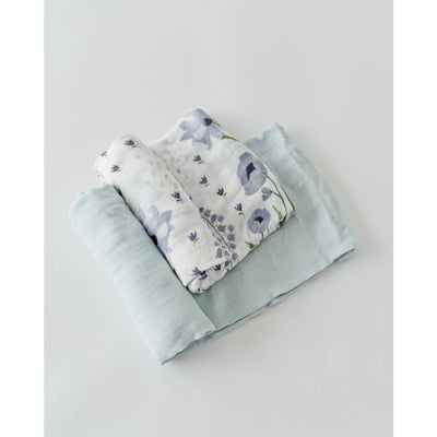 Blue Windflower Deluxe Muslin Swaddle Set