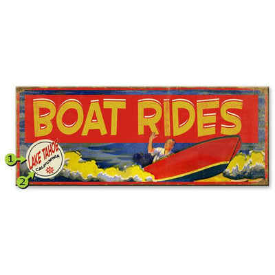 Boat Rides Old Wood Sign