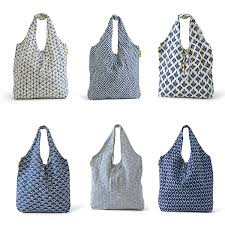 Chinoiserie Blue and White Market Bags