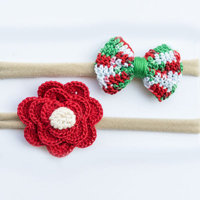 Christmas Crochet Bows and Headband