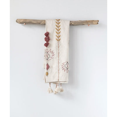 Embroidered Throw with Tassels