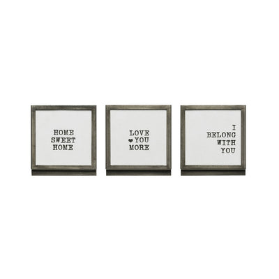 Metal & Glass Framed Sayings w/Easel
