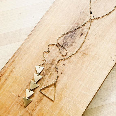 Gold Lariat Triangle Necklace