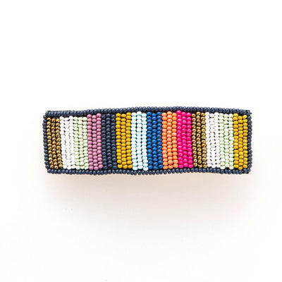 Multi Color Beaded Stripe Hair Barrette