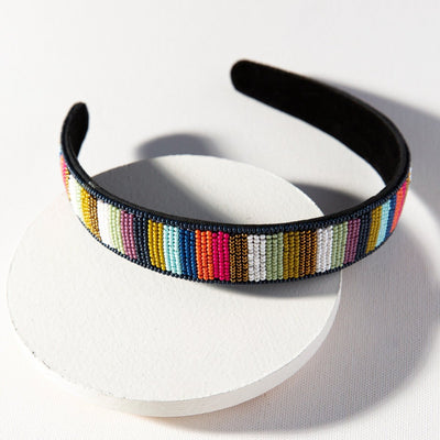 Multi Stripe Seed Bead Headband