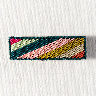 Pink Citron Peacock Diagonal Stripe Barrette