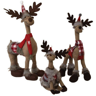Standing Plush Reindeer with Red Scarf