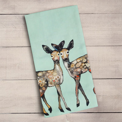 Dancing Fawns Tea Towel