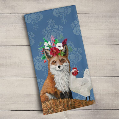 Fox & Rooster Tea Towel