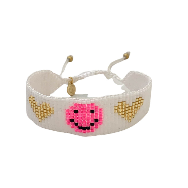 Friendship Bracelet White Smile Face