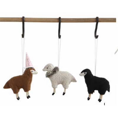 Resin Sheep with Fleece Ornament