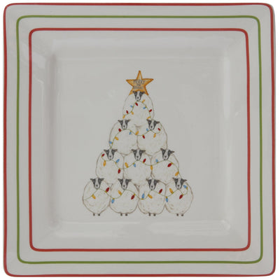 Ceramic Sheep Holiday Square plate