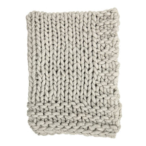 Chunky Knit Throw-Grey Wool Blend
