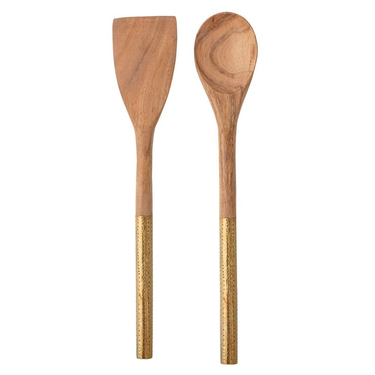 Acacia Wood Utensils with Brass Handles