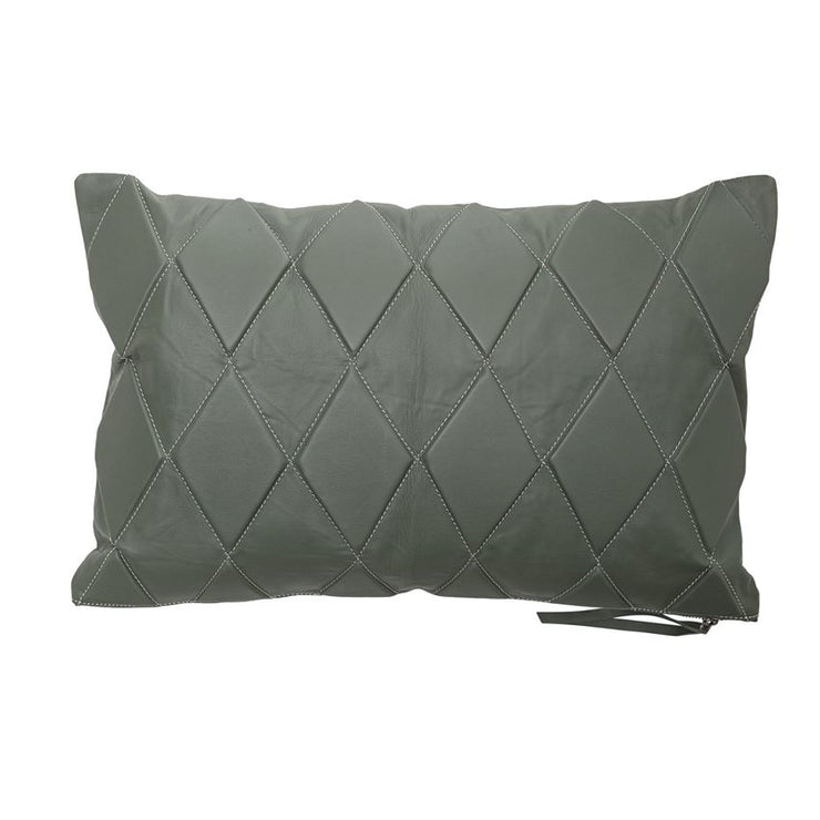 Olive Leather Quilted Pillow