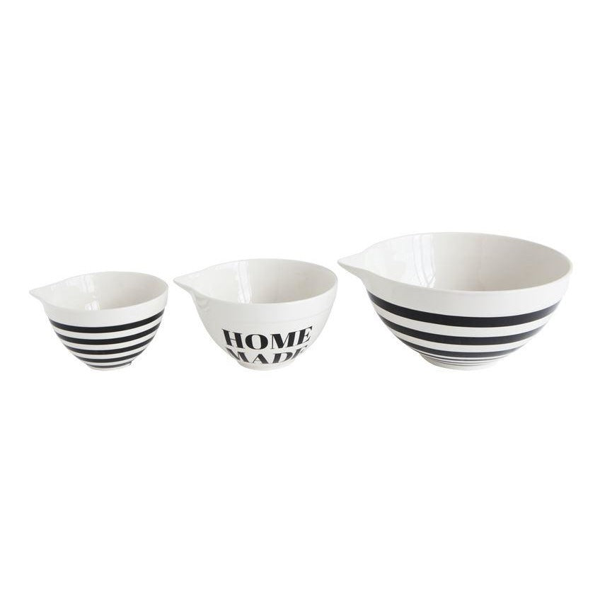 Stoneware Mixing Bowls, Black & White   Set of 3