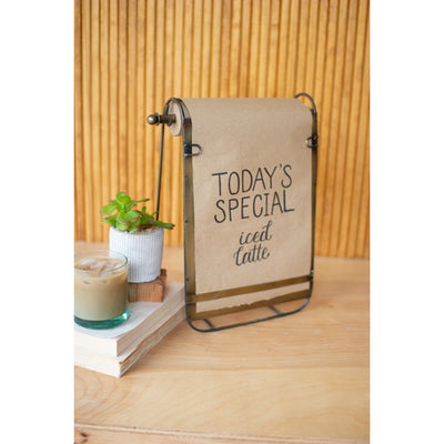 Antique Brass Tabletop Note roll with easel