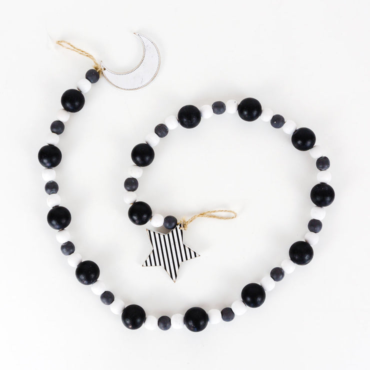 Black & White Moon and Star Bead Garland