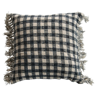 Blue Gingham Pillow with Fringe