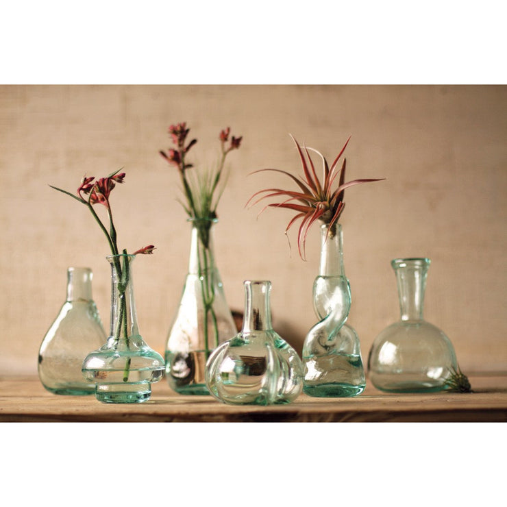 Reclaimed Glass Bottle Bud Vases
