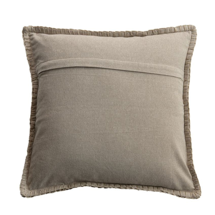 Tan, Black, & Rust Embroidered Pillow