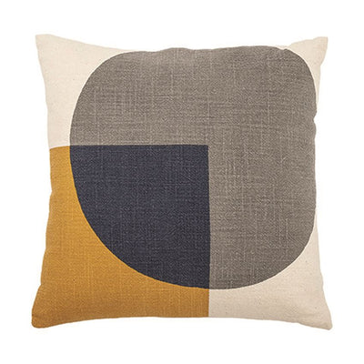 Mustard & Charcoal Cotton Printed Pillow