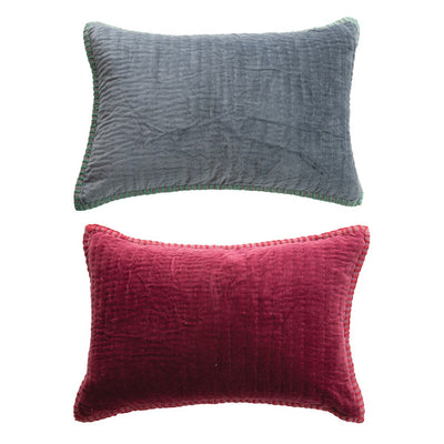Kantha Stitch Velvet Lumbar Pillow
