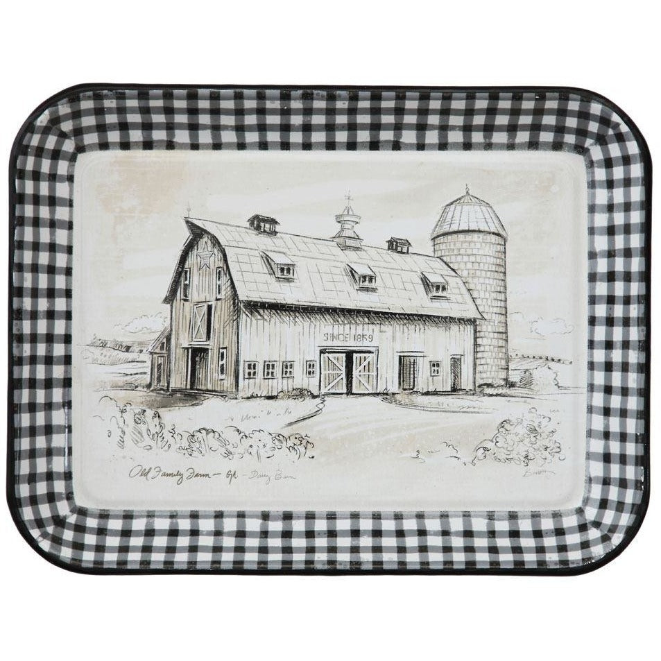 Enameled Tray with Barn
