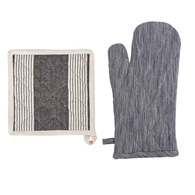 Chambray Hot Mitt and Pot Holder