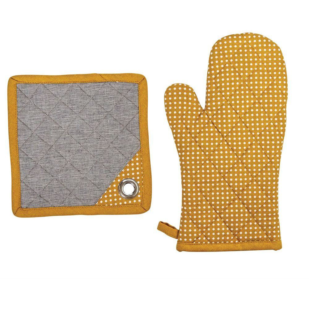 Mustard Chambray Hot Mitt and Pot Holder