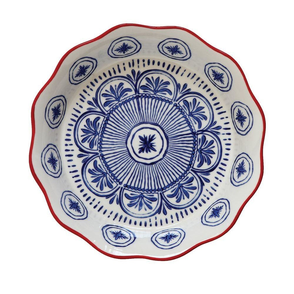 Blue and Red hand stamped Pie Dish