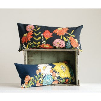Cotton Pillow with Flowers