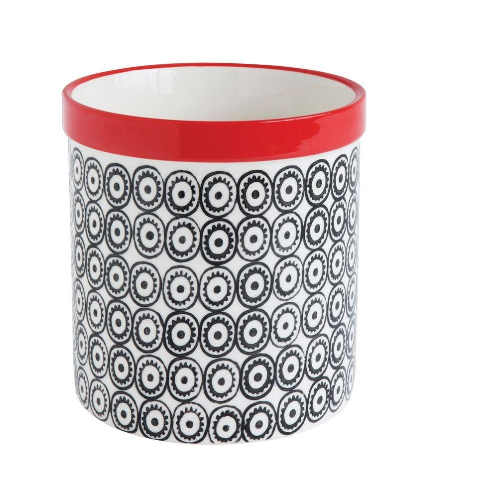 Utensil Holder Hand Stamped Red and Black