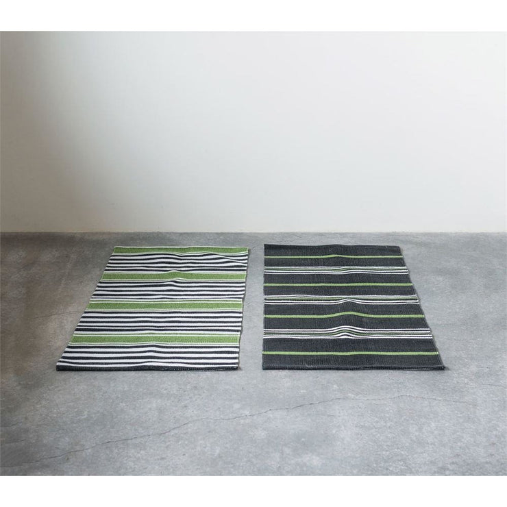 Green, Black and White Dhurrie Rug