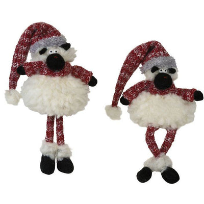 Plush Fluffy Sheep with Red Knit Hat