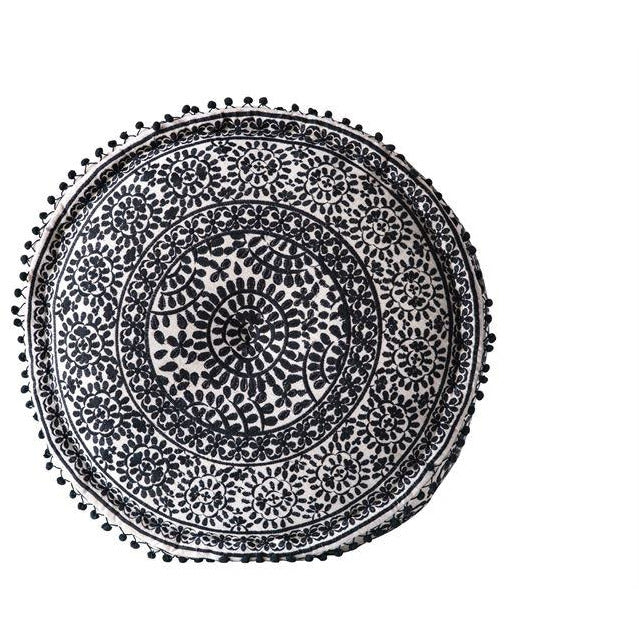 Black and White Embroidered Pouf