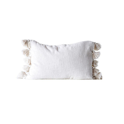 Cream Cotton Woven Slub Pillow