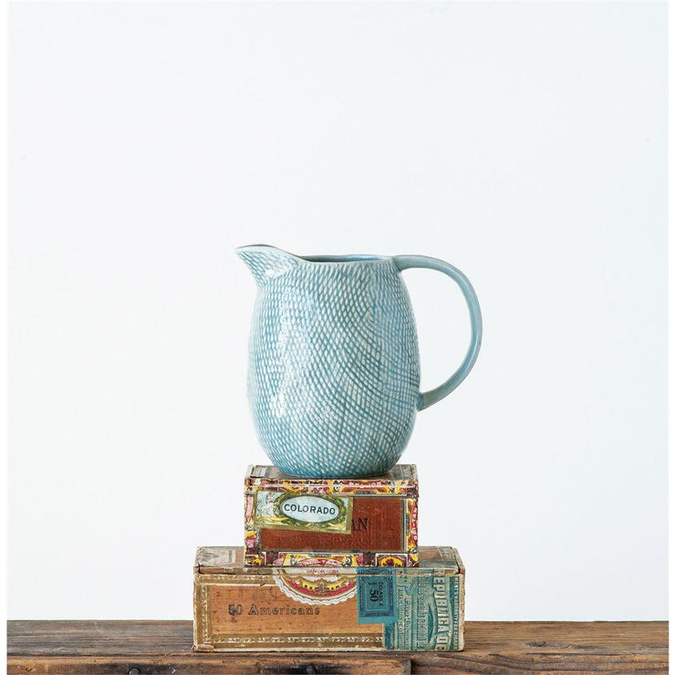 Blue Embossed Pitcher