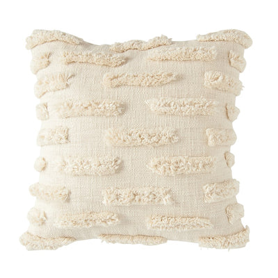 Square Woven Cotton Pillow with Fringe