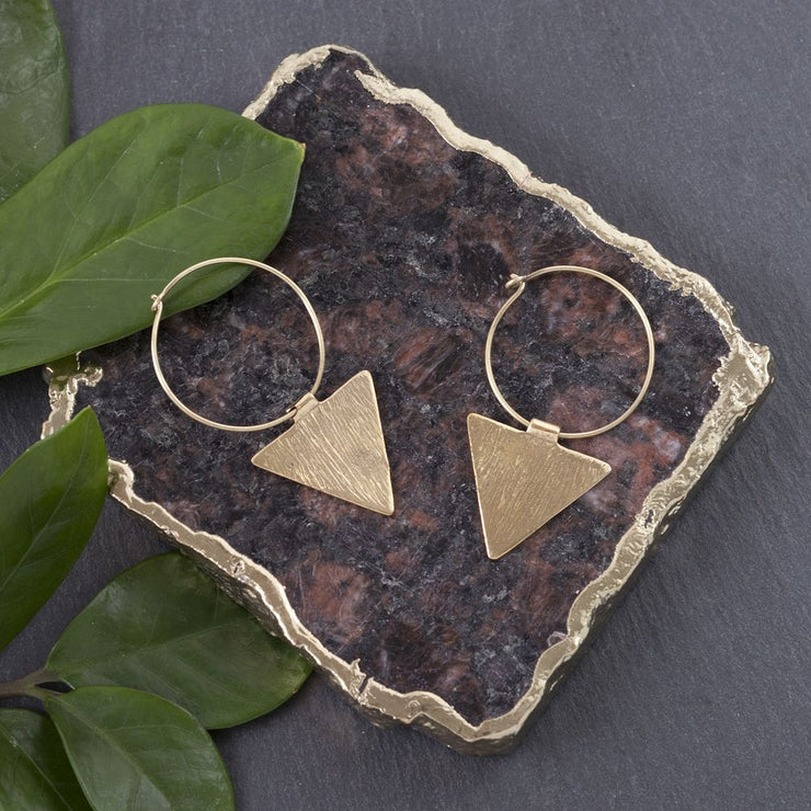 Dropped Triangle Hoop Earrings