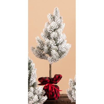 Flocked Tree with a buffalo Plaid Base