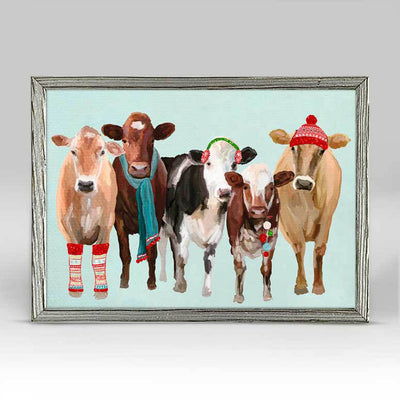Festive Cow Club Embellished Canvas